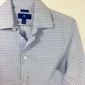 Egara white & blue cotton button down shirt S